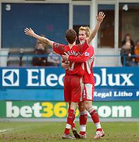 Photo: Kevin Poolman.<br />Luton Town v Blackburn Rovers. The FA Cup. 27/01/2007. Matt Derbyshire (no 27) and Morten Gamst Pedersen of Blackburn celebrate their third goal.