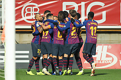October 31, 2018 - Leon, Leon, Spain - Players of Barcelona celebrating a goal  during the King Spanish championship, , football match between Cultural Leonesa and Barcelona, October 31, in Reino de Leon Stadium in Leon, Spain. (Credit Image: © AFP7 via ZUMA Wire)