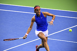 February 10, 2019 - Liege, BELGIQUE - LIEGE, BELGIUM - FEBRUARY 10 : Elise MERTENS (BEL) vs Caroline GARCIA (FRA) pictured during the World Group First Round Fed Cup Game between Belgium and France on February 10, 2019 in Liege, Belgium, 10/02/2019 (Credit Image: © Panoramic via ZUMA Press)