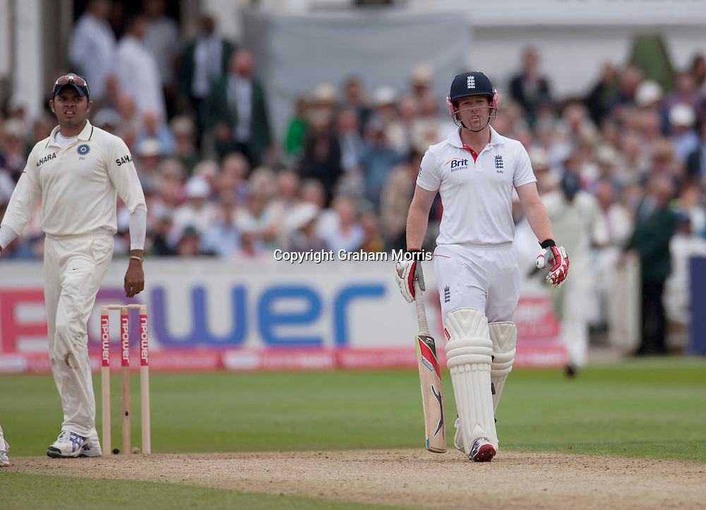 Eoin Morgan questions umpire Asad Rauf after being given out lbw for nought during the second npower Test Match between England and India at Trent Bridge, Nottingham.  Photo: Graham Morris (Tel: +44(0)20 8969 4192 Email: sales@cricketpix.com) 29/07/11