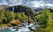 Rob Roy Track, Mount Aspiring National Park, Southern Alps, Otago region, South Island of New Zealand. In 1990, UNESCO honored Te Wahipounamu - South West New Zealand as a World Heritage Area. This image was stitched from multiple overlapping photos.
