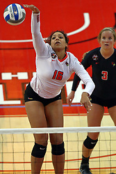 18 November 2016:  Lexi Varga powers the ball over the net towards the Panthers front court hoping for a point during an NCAA women's volleyball match between the Northern Iowa Panthers and the Illinois State Redbirds at Redbird Arena in Normal IL (Photo by Alan Look)