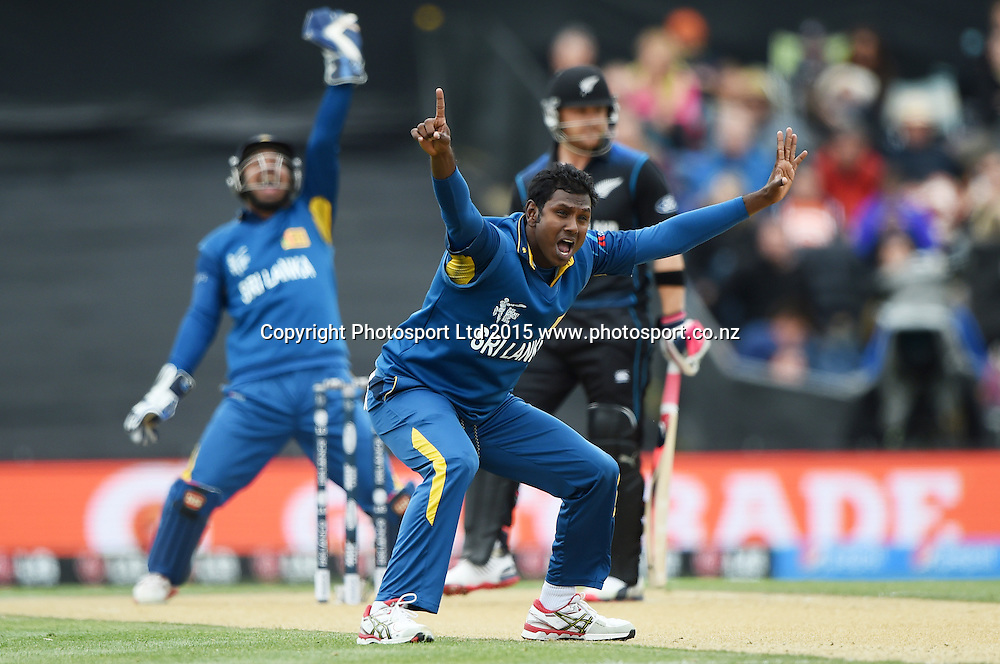 Angelo Mathews appeals unsuccessfully for a LBW decision during the ICC Cricket World Cup match between New Zealand and Sri Lanka at Hagley Oval in Christchurch, New Zealand. Saturday 14 February 2015. Copyright Photo: Andrew Cornaga / www.Photosport.co.nz