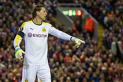 14.04.2016, Anfield Road, Liverpool, ENG, UEFA EL, FC Liverpool vs Borussia Dortmund, Viertelfinale, Rueckspiel, im Bild Torwart Roman Weidenfeller (Borussia Dortmund #1) gibt Anweisungen // during the UEFA Europa League Quaterfinal, 2nd Leg match between FC Liverpool vs Borussia Dortmund at the Anfield Road in Liverpool, Great Britain on 2016/04/14. EXPA Pictures &copy; 2016, PhotoCredit: EXPA/ Eibner-Pressefoto/ Schueler<br /> <br /> *****ATTENTION - OUT of GER*****