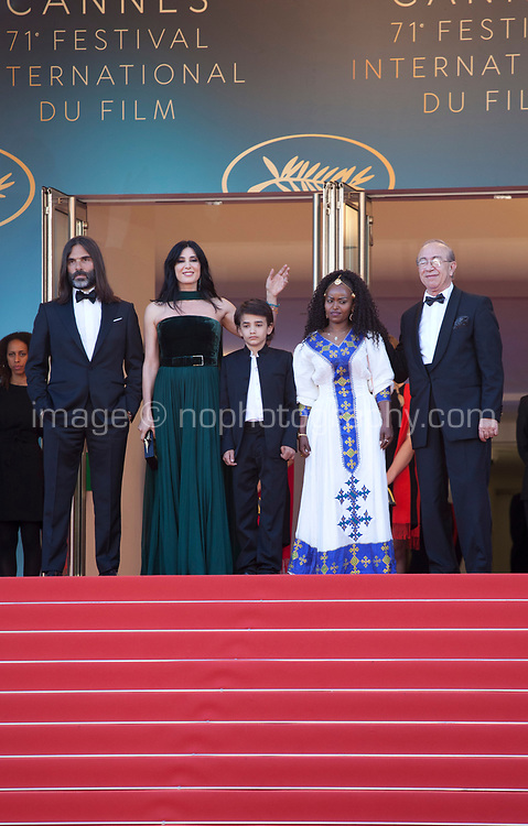 Khaled Mouzanar, director Nadine Labaki, Zain Alrafeea, Yordanos Shifera at the Capharnaüm (Cafarnaúm)  gala screening at the 71st Cannes Film Festival, Thursday 17th May 2018, Cannes, France. Photo credit: Doreen Kennedy