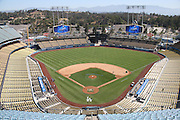 LOS ANGELES, CA - JULY 13:  Overhead general view photograph is taken as groundskeepers work on the field before the Los Angeles Dodgers game against the San Diego Padres at Dodger Stadium on Sunday, July 13, 2014 in Los Angeles, California. The Dodgers won the game 1-0. (Photo by Paul Spinelli/MLB Photos via Getty Images)