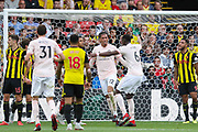 GOAL - Manchester United Defender Chris Smalling celebrates 0-2 during the Premier League match between Watford and Manchester United at Vicarage Road, Watford, England on 15 September 2018.