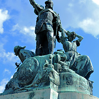 Istv&aacute;n Dob&oacute; Sculpture at Dob&oacute; Square in Eger, Hungary<br /> Baron Istv&aacute;n Dob&oacute; de Ruszka was a 16th century Hungarian military leader. In 1549, he was commissioned to command the Eger Castle. In 1552, Ottoman Kara Ahmed Pasha successfully conquered three Hungarian castles before his 40,000 Turkish troops stormed the Eger Castle. Istv&aacute;n Dob&oacute; and 2,300 others &ndash; many of the women - were victorious at repelling the assault. This sculpture of the Siege of Eger&rsquo;s hero was created by Alajos Str&oacute;bl. The tribute to Istv&aacute;n Dob&oacute; was erected in the public square that bears his name in 1907.