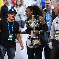 Serena Williams of the United States celebrates winning the women's final on day thirteen of the 2017 Australian Open at Melbourne Park on January 28, 2017 in Melbourne, Australia.<br /> (Ben Solomon/Tennis Australia)
