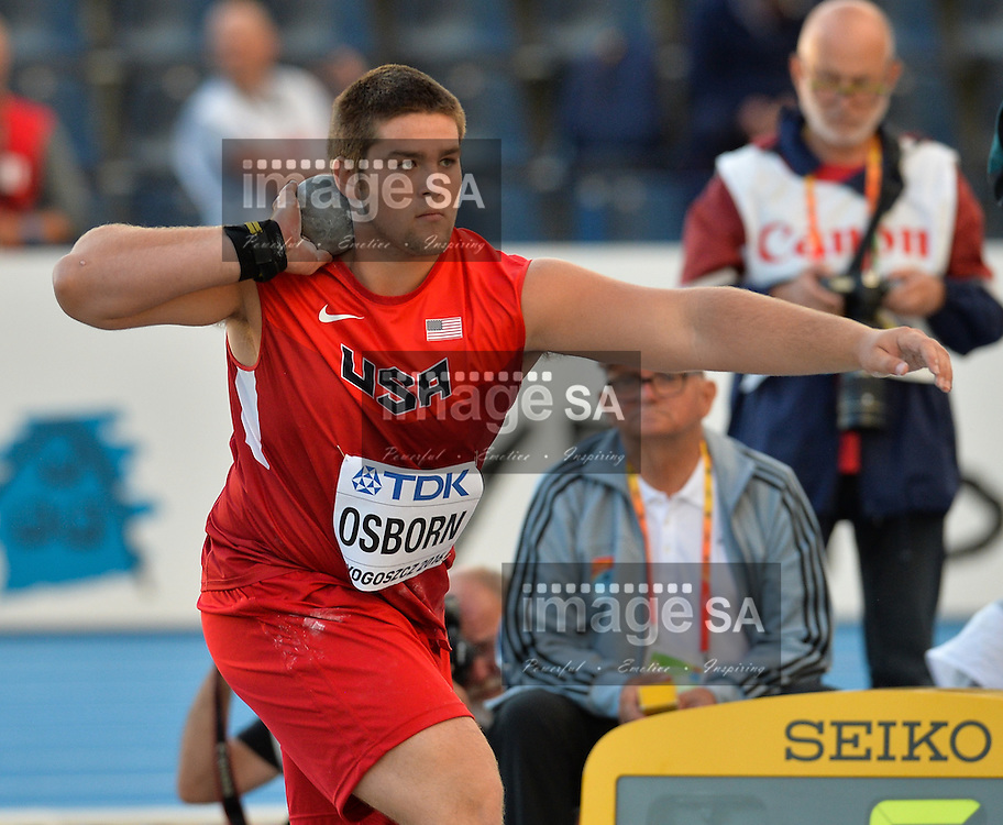 BYDGOSZCZ, POLAND - JULY 19: Bronson Osborn of the USA in the final of the mens shot put during the afternoon session on day 1 of the IAAF World Junior Championships at Zawisza Stadium on July 19, 2016 in Bydgoszcz, Poland. (Photo by Roger Sedres/Gallo Images)
