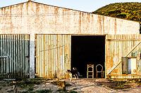 Cachorro em frente a galpão na Praia do Pântano do Sul. Florianópolis, Santa Catarina, Brasil. / Dog in front of a shed at Pantano do Sul Beach. Florianopolis, Santa Catarina, Brazil.