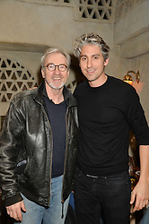 Left to right, LARRY LAMB and his son GEORGE LAMB at the launch of Sunday Brunch at Momo's, 25 Heddon Street, London on 23rd February 2014.