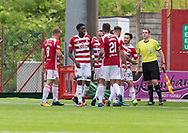 12th August 2017, SuperSeal Stadium, Hamilton, Scotland; SL Football league Hamilton Academicals versus Dundee; Hamilton's Steven Boyd (30) is congratulated after scoring his sides second goal