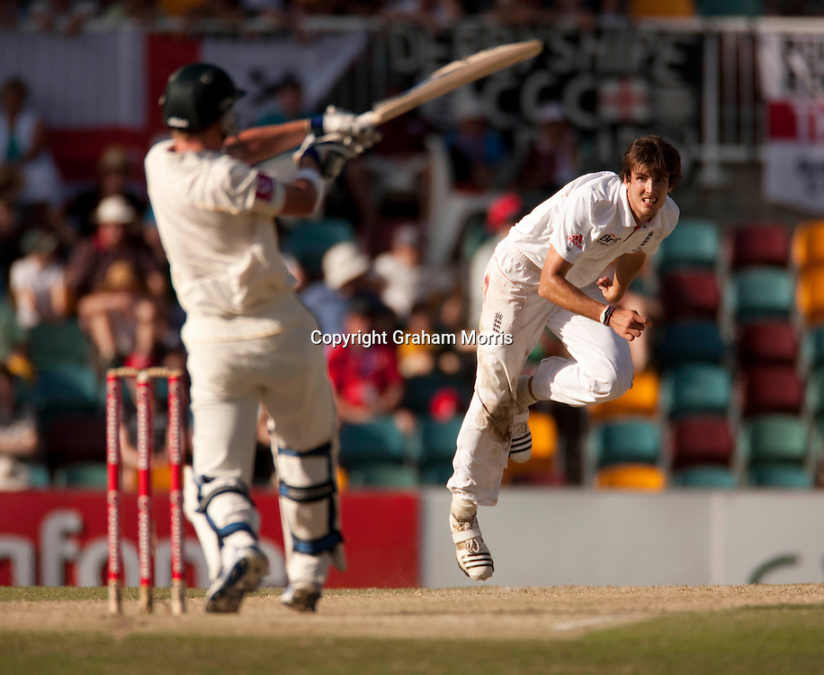 Steven Finn (6 for 125) watches as the last wicket falls (Xavier Doherty out) during the first Ashes Test Match between Australia and England at the Gabba, Brisbane. Photo: Graham Morris (Tel: +44(0)20 8969 4192 Email: sales@cricketpix.com) 27/11/10