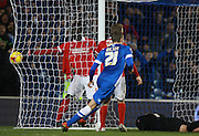 The ball hits the back of the net for Brighton striker Tomer Hemed's winning goal during the Sky Bet Championship match between Brighton and Hove Albion and Charlton Athletic at the American Express Community Stadium, Brighton and Hove, England on 5 December 2015. Photo by Bennett Dean.
