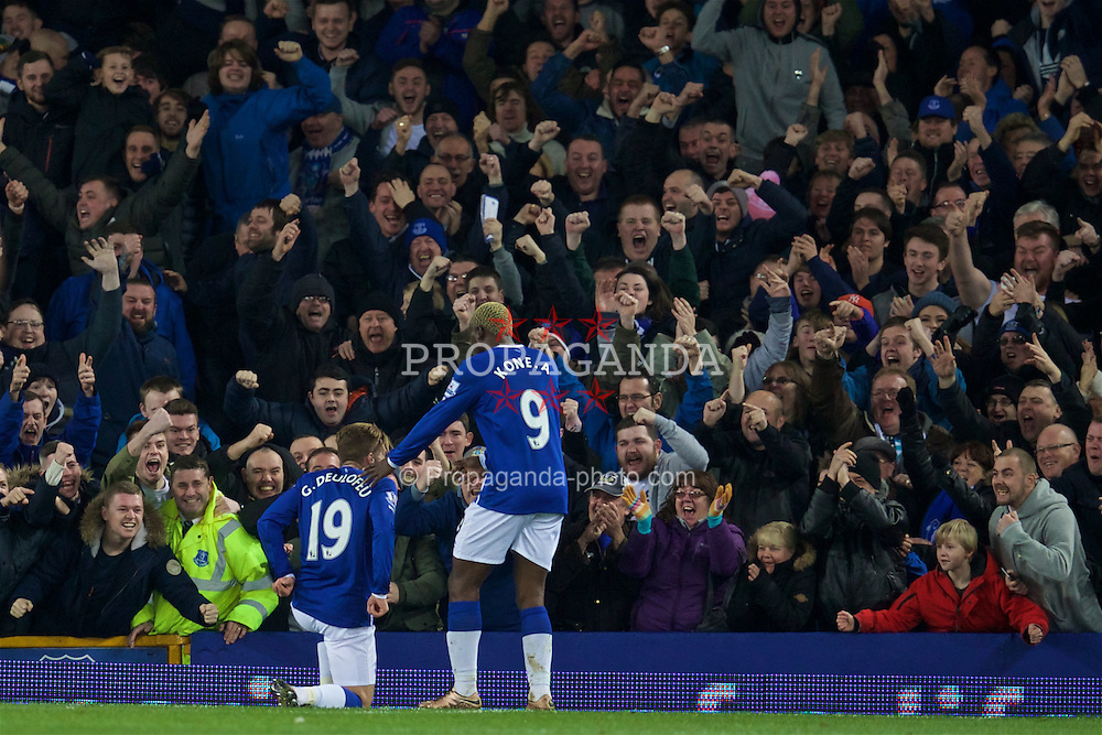 LIVERPOOL, ENGLAND - Monday, December 28, 2015: Everton's Gerard Deulofeu celebrates scoring the third goal against Stoke City during the Premier League match at Goodison Park. (Pic by David Rawcliffe/Propaganda)