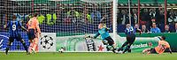 """gol di Douglas Maicon dell'Inter<br /> Milano 20/4/2010 Stadio """"Giuseppe Meazza""""<br /> Inter Barcellona<br /> Champions League 2009/2010<br /> Foto Bibi Insidefoto"""