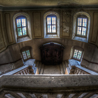 An abandoned palace in East Germany with stone interior