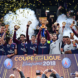 Captain Thiago Silva of PSG lifts the trophy after his team wins the Final of the French League Cup between Paris Saint Germain (PSG) and AS Monaco on March 31, 2018 in Bordeaux, France. (Photo by Dave Winter/Icon Sport)