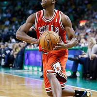 13 February 2013: Chicago Bulls point guard Marquis Teague (25) passes the ball during the Boston Celtics 71-69 victory over the Chicago Bulls at the TD Garden, Boston, Massachusetts, USA.