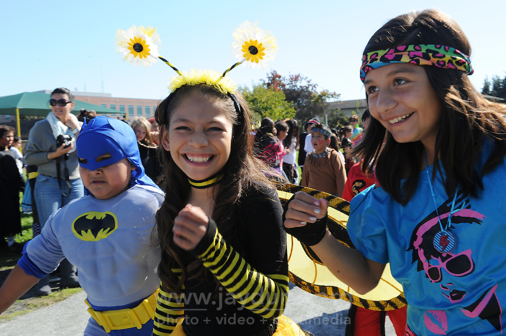 Ghouls, goblins, witches and zombies ruled the day at Roosevelt Elementary School after lunch on Thursday, as students, parents and staff enjoyed their annual Halloween Parade around the track. The public school on Capitol Street in Salinas serves nearly six hundred students in grades K-6.