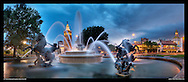 Panoramic photograph of JC Nichols Memorial Fountain, on The Plaza, Kansas City, Missouri. Print sizes (in inches): 15x6.5, 32x14, 40x17, 48x21, 60x26