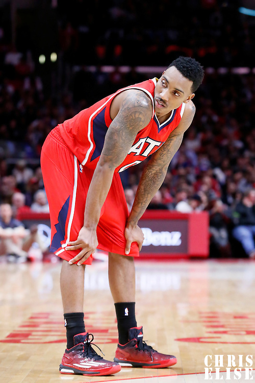 05 January 2014: Atlanta Hawks guard Jeff Teague (0) rests during the Atlanta Hawks 107-98 victory over the Los Angeles Clippers, at the Staples Center, Los Angeles, California, USA.