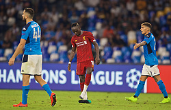 NAPLES, ITALY - Tuesday, September 17, 2019: Liverpool's Sadio Mane loses his boot during the UEFA Champions League Group E match between SSC Napoli and Liverpool FC at the Studio San Paolo. (Pic by David Rawcliffe/Propaganda)