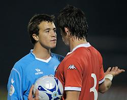 San Marino, San Marino - Wednesday, October 17, 2007: Wales' Gareth Bale and San Marino's Matteo Vitaioli during the Group D UEFA Euro 2008 Qualifying match at the Serravalle Stadium. (Photo by David Rawcliffe/Propaganda)