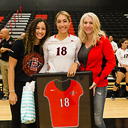 18 November 2017:  The San Diego State women's volleyball team closes out it's season against #24 Colorado State University.  Seniors Alexis Cage celebrates their last game as Aztecs. The Aztecs fell to the Rams in three sets. <br /> www.sdsuaztecphotos.com