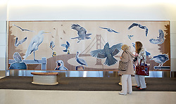 A large bird mural adorns a wall inside the new Terminal 2 at San Francisco International Airport. The 640,000- square-foot Terminal is expected to be the first LEED  Gold-certified terminal in the U.S.