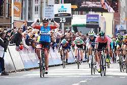 Kirsten Wild (NED) wins sprint ahead of Lorena Wiebes (NED) and Letizia Paternoster (ITA) at Gent Wevelgem - Elite Women 2019, a 136.9 km road race from Ieper to Wevelgem, Belgium on March 31, 2019. Photo by Sean Robinson/velofocus.com