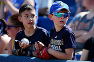 PHOENIX, AZ - MARCH 04:  Young Milwaukee Brewers fans wait for autographs prior to the spring training game between the Texas Rangers and Milwaukee Brewers at Maryvale Baseball Park on March 4, 2017 in Phoenix, Arizona.  (Photo by Jennifer Stewart/Getty Images)