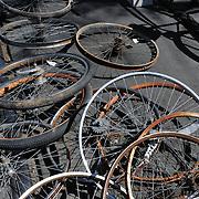 Wheels on streetcar tracks at spring 2011 Bicycle Swap Meet, Tucson, Arizona. Bike-tography by Martha Retallick.