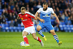 Peterborough United's Michael Bostwick in action with Crewe Alexandra's George Ray - Photo mandatory by-line: Joe Dent/JMP - Mobile: 07966 386802 - 14/04/2015 - SPORT - Football - Peterborough - ABAX Stadium - Peterborough United v Crewe Alexandra - Sky Bet League One