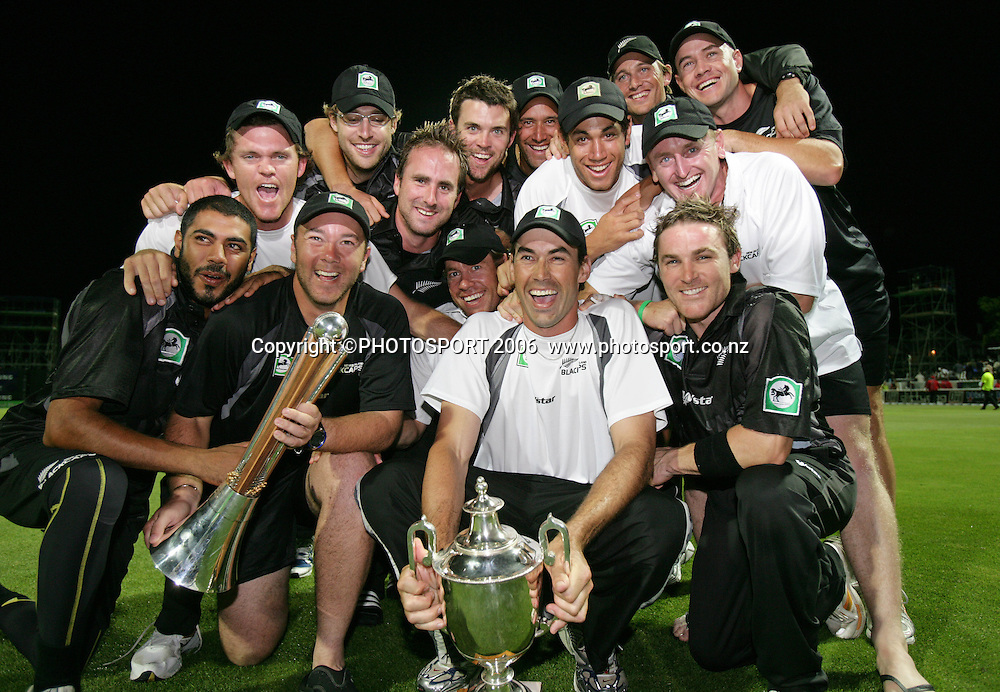 The Black Caps celebrate after winning the 3rd Chappell Hadlee one day match at Seddon Park, Hamilton, New Zealand on Tuesday 20 February 2007. Photo: Andrew Cornaga/PHOTOSPORT<br /><br /><br />200207