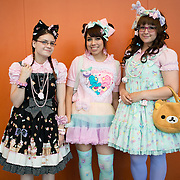 Pastel lolitas on their way home after Otakuthon Convention. (left to right: Coralie Labbé, Nancy Esperanza and Christine Turcotte)