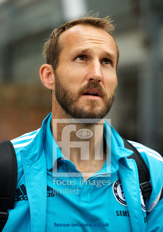 Goalkeeper Mark Schwarzer  of Chelsea arriving for the Barclays Premier League match at Selhurst Park, London<br /> Picture by Alan Stanford/Focus Images Ltd +44 7915 056117<br /> 18/10/2014