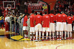 16 November 2015: The Redbirds and the Illinois State Army ROTC members hold a large USA flag at center court during the Star Spangled Banner. Illinois State Redbirds host the Morehead State Eagles at Redbird Arena in Normal Illinois (Photo by Alan Look)