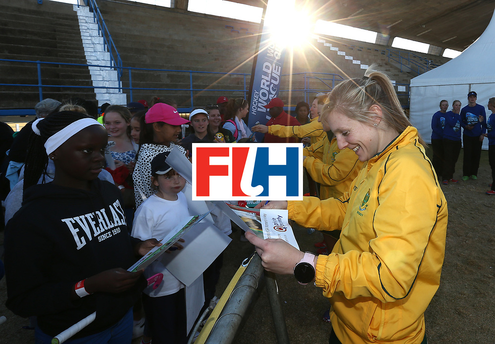 JOHANNESBURG, SOUTH AFRICA - JULY 20:  Bernadette Coston of South Africa chats with fans after the 5th/ 8th place play-off match between South Africa and Ireland at Wits University on July 20, 2017 in Johannesburg, South Africa.  (Photo by Jan Kruger/Getty Images for FIH)