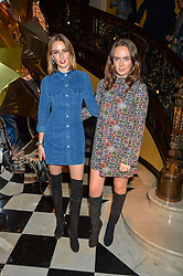 Left to right, sisters LADY ALICE MANNERS and LADY ELIZA MANNERS at a party to celebrate theunveiling of the Claridge's Christmas Tree designed by Christopher Bailey for Burberryheld at Claridge's, Brook Street, London on 18th November 2015.