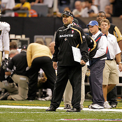 2009 October 04: New Orleans Saints head coach Sean Payton on the sideline during a 24-10 win by the New Orleans Saints over the New York Jets at the Louisiana Superdome in New Orleans, Louisiana.