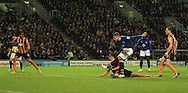 Ross Barkley of Everton has a shot on goal during the Barclays Premier League match at KC Stadium, Hull<br /> Picture by Richard Gould/Focus Images Ltd +44 7855 403186<br /> 01/01/2015