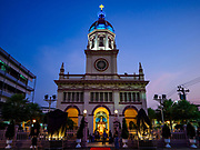 30 MARCH 2018 - BANGKOK, THAILAND: People go into Santa Cruz Church during Good Friday observances at Santa Cruz Church in the Thonburi section of Bangkok. Santa Cruz Church is more than 350 years old and is one of the oldest Catholic churches in Thailand. Good Friday is the day that most Christians observe as the crucifixion of Jesus Christ. Thailand has a small Catholic community.       PHOTO BY JACK KURTZ