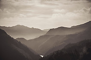 Mountains in dark sepia tones