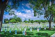 Los Angeles National Cemetery,  war veterans from the Spanish-American war, World War I, World War II, Korean War, American conflicts.