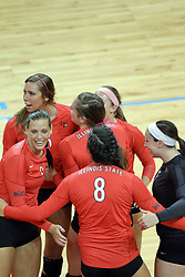12 October 2013:  Leighann Hranka Ashley Rosch during an NCAA womens volleyball match between the Missouri State Bears and the Illinois State Redbirds at Redbird Arena in Normal IL