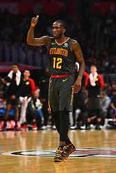 January 29, 2019 - Los Angeles, CA, U.S. - LOS ANGELES, CA - JANUARY 28: Atlanta Hawks Forward Taurean Prince (12) looks on during a NBA game between the Atlanta Hawks and the Los Angeles Clippers on January 28, 2019 at STAPLES Center in Los Angeles, CA. (Photo by Brian Rothmuller/Icon Sportswire) (Credit Image: © Brian Rothmuller/Icon SMI via ZUMA Press)