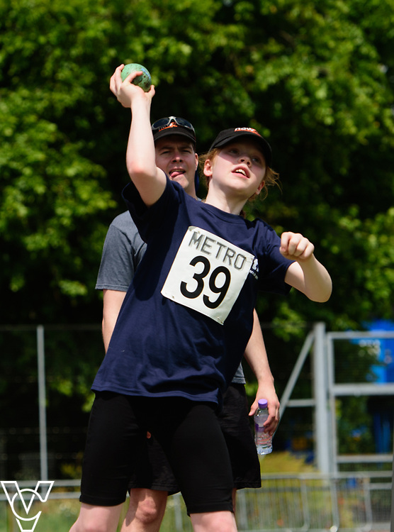 Metro Blind Sport's 2017 Athletics Open held at Mile End Stadium.  Shot put.  Chelsea Hudson<br /> <br /> Picture: Chris Vaughan Photography for Metro Blind Sport<br /> Date: June 17, 2017