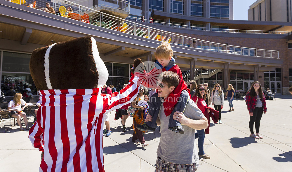 Bucky Badger high fives a young boy at the Union South 5th Anniversary celebration on April 14, 2016.
